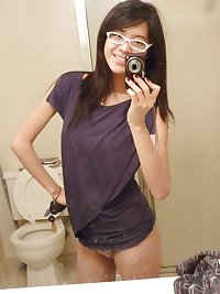 Sexy asian teen with glasses