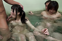 Japanese girls fucked at public bath