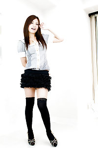 Asian short skirts and stockings